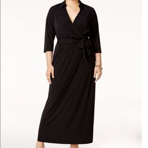 NY Collection Navy Faux Wrap Maxi Dress 2XP